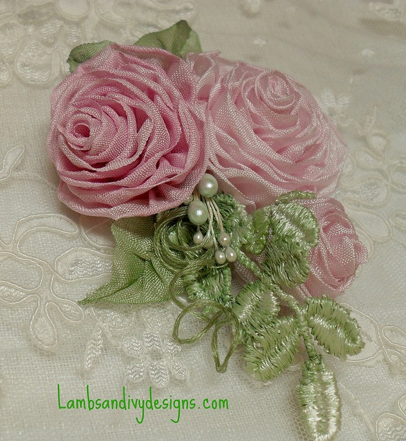 I ❤ ribbonwork . . . Pink Roses Pin- By lambsandivydesigns.com