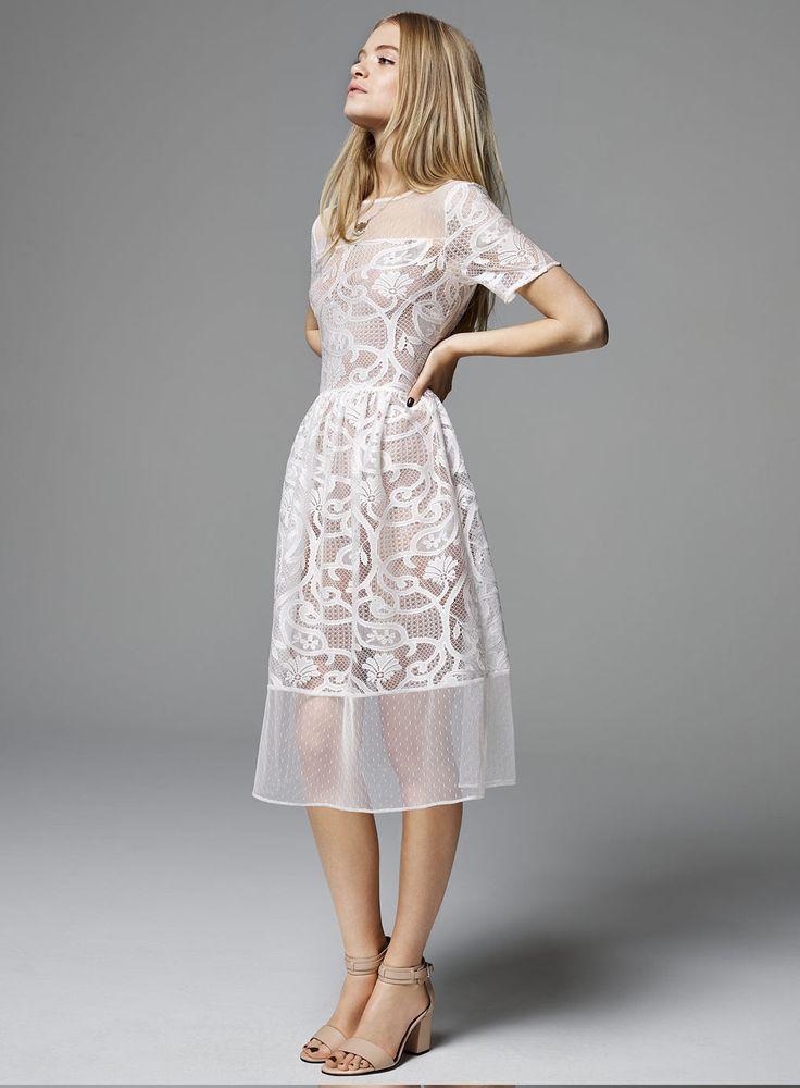 Miss Selfridge White Dobby Lace Midi Dress      Price: £49.00