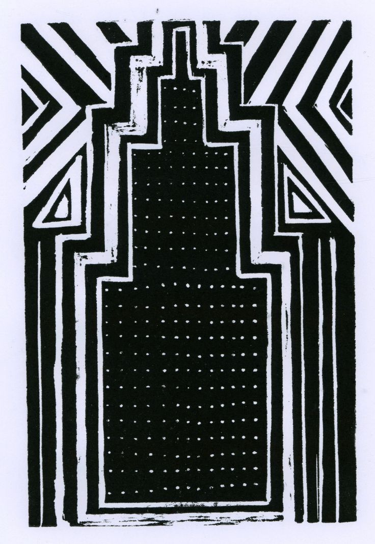 Lino print of the Empire State building