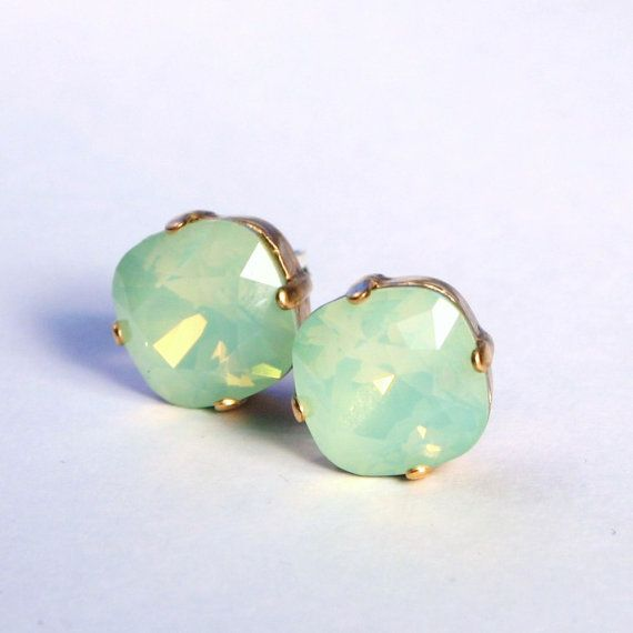 Hey, I found this really awesome Etsy listing at https://www.etsy.com/listing/190233807/mint-green-opal-crystal-stud-earrings