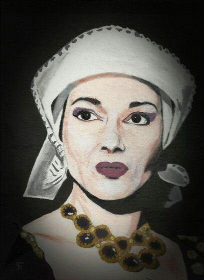 Kostas Giannopoulos (1975-), Callas as Anna Bolena, acrylic on panel canvas