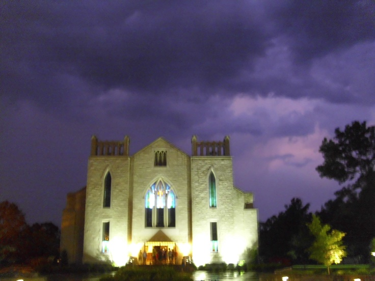 John Brown University Cathedral during a rainy night. church camp!
