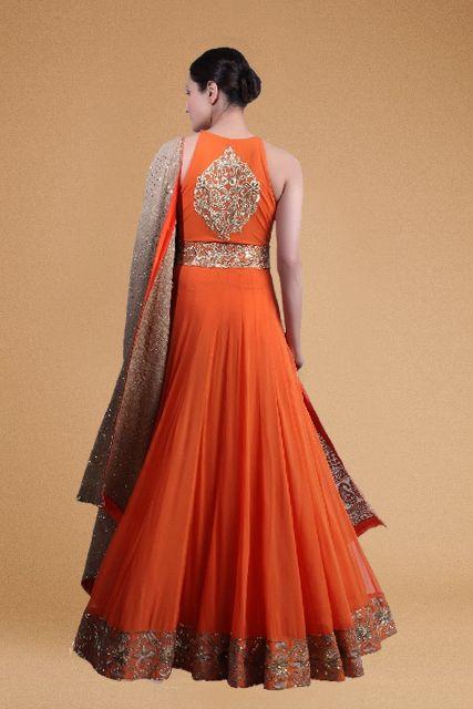 Orange Anarkali gown with Beige Chikan duppatta