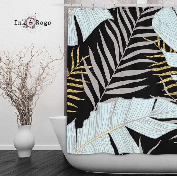 Powder And Gold Palm And Banana Leaf Black Shower Curtains And Optional Bath Mats Black Shower Curtains Curtains Handmade