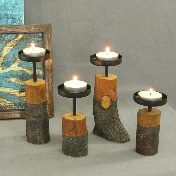 Set of four tree branch candle holders. by shiningcity || Modern rustic candleholders, centerpieces