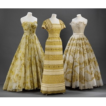 Gorgeous vintage gowns in shades of gold and yellow | Marcelle Chaumont, 1940s