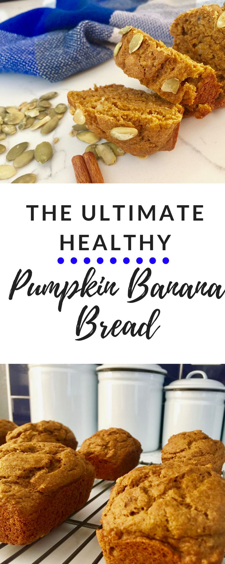 The ultimate healthy pumpkin banana bread. Low in sugar and no oil. Whole wheat flour. All of the delicious without the calories!