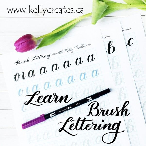 Learn brush lettering with these practice sheets created by Kelly Klapstein