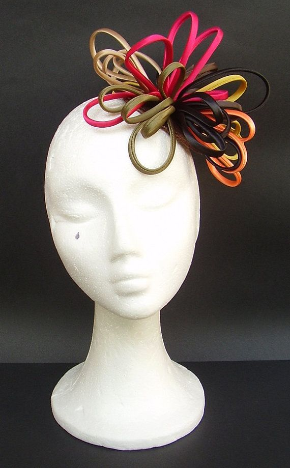Fascinator Fascinator vert / Orange fascinator / par TocameMika