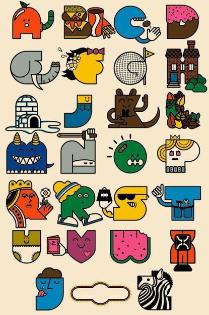 Cool retro illustrated alphabet