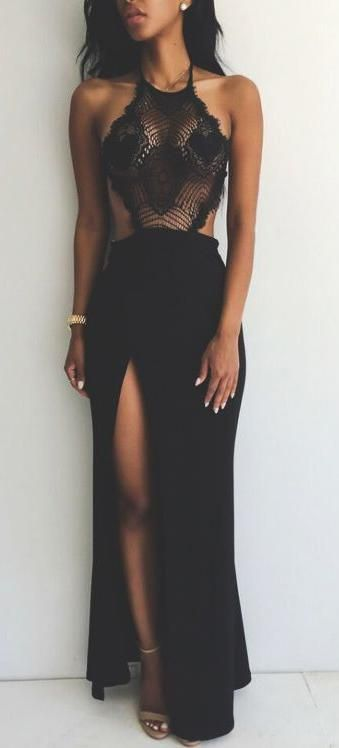 Love the shape of the dress. Not a fan of the see thru lace top and black is boring.