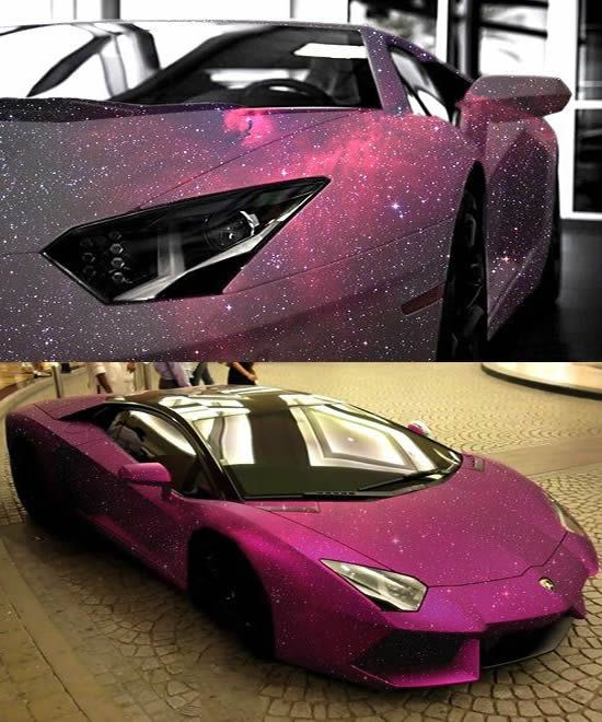 Lamborghini Aventador with pink galaxy paint....wow, love the car & that paint is kick ass!