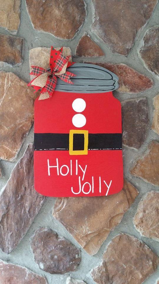 Santa Themed Mason Jar Door Hanger by AdooringDesigns on Etsy