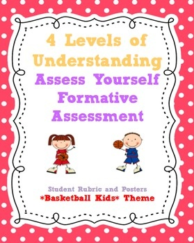 FORMATIVE ASSESSMENT Marzano's 4 Levels of Understanding Printable Posters and Student Rubric- Basketball Kids Themes: Formative Assessment, Posters Basketball Kids, Posters 1, Black Polka, Assessment Marzano, Frames Backgrounds 1, Dots Curly Frames, Formations Assessment, Student Rubrics