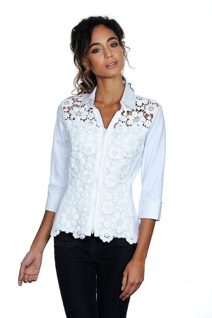 Camicia in cotone bianco doppiato in macramé, chiusura zip, manica a 3/4