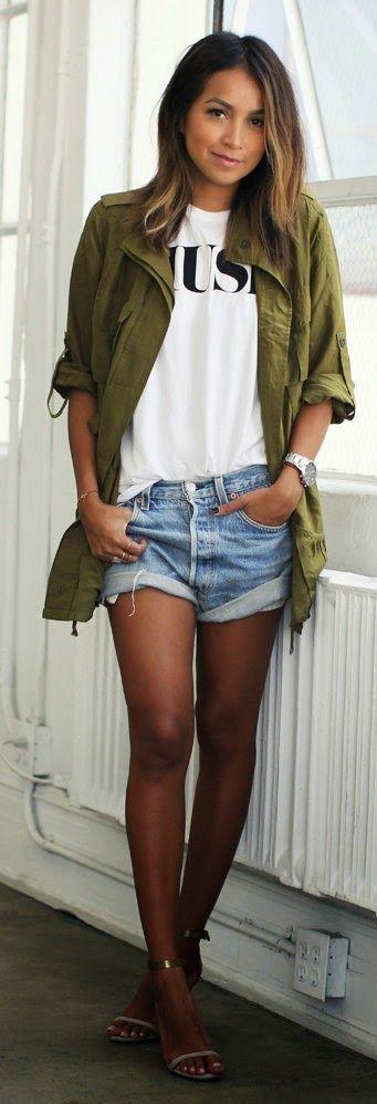 Sincerely Jules - Candela utilitarian jacket + muse tee + denim shorts.