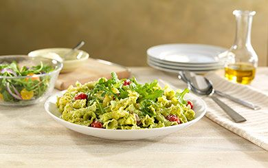 Barilla recipes  Classic Blue Box  google plus  pinterest  facebook  twitter  embed save bookmark print send email Barilla® Campanelle with a Creamy Arugula Sauce, Cherry Tomatoes, and Parmigiano Cheese