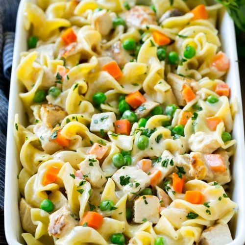 This chicken noodle casserole is diced chicken, veggies and egg noodles all in a creamy sauce.