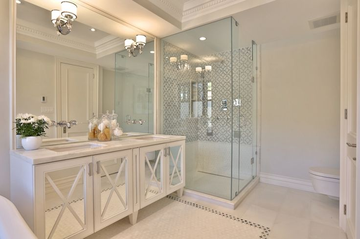 Want glamour in your bathroom? Replace cabinet panels with mirrors and add a bit of small moulding! An extra large mirror and pretty scones complete the look!!