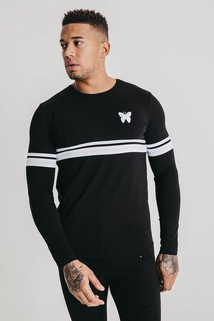 Twin Stripe Long Sleeve Black
