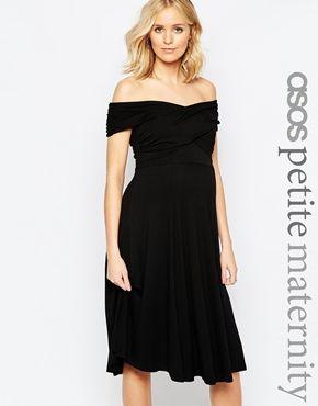 ASOS Maternity PETITE - Robe patineuse à encolure style Bardot