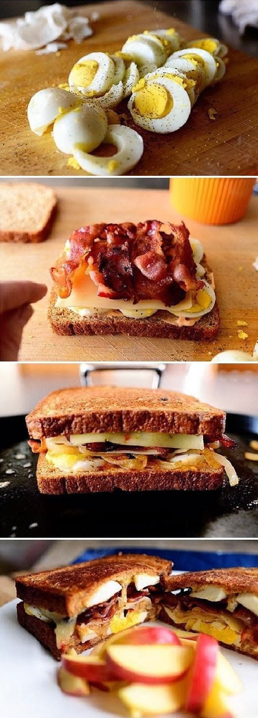 Sandwich Grilled Cheese & Eggs Recipe. This is not healthy, but looks so good. Could probably swap it out for turkey bacon :)