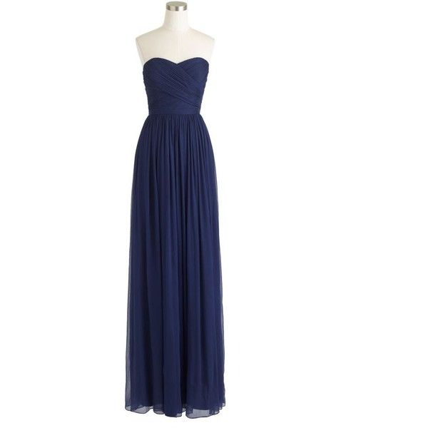 J.Crew Arabelle Long Dress ($170) ❤ liked on Polyvore featuring dresses, gowns, vestidos, blue strapless dress, a line dress, long blue dress, floor length gown and petite evening dresses