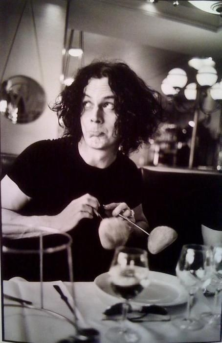"""Jack White imitating Charlie Chaplin's, """"dancing rolls"""" from the movie Gold Rush. Cute."""