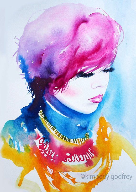 Fashion Illustration Art Print Watercolour Colourful Pink Ink