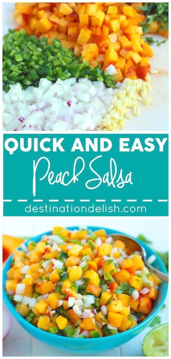 Quick and Easy Peach Salsa - a sweet and savory salsa recipe with sweet and juicy peaches
