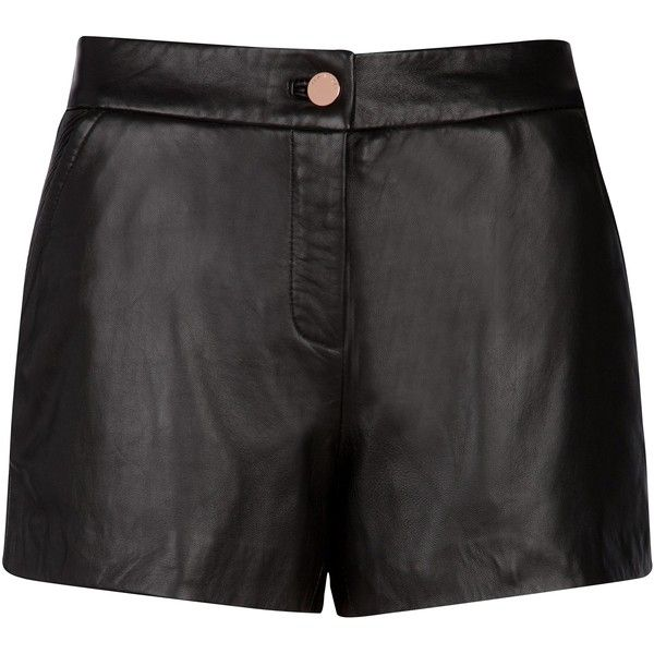Ted Baker Devica leather short ($105) ❤ liked on Polyvore featuring shorts, bottoms, short, pants, black, clearance, ted baker, leather short shorts, ted baker shorts and short shorts