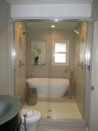 wet room-shower and tub together | Bathroom | Pinterest on Wet Room With Freestanding Tub  id=86160