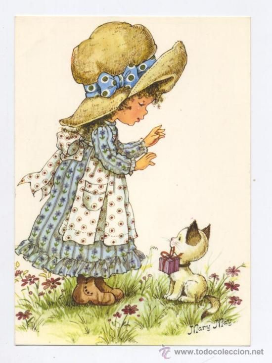 POSTAL *MARY MAY* - NIÑA CON EL GATITO