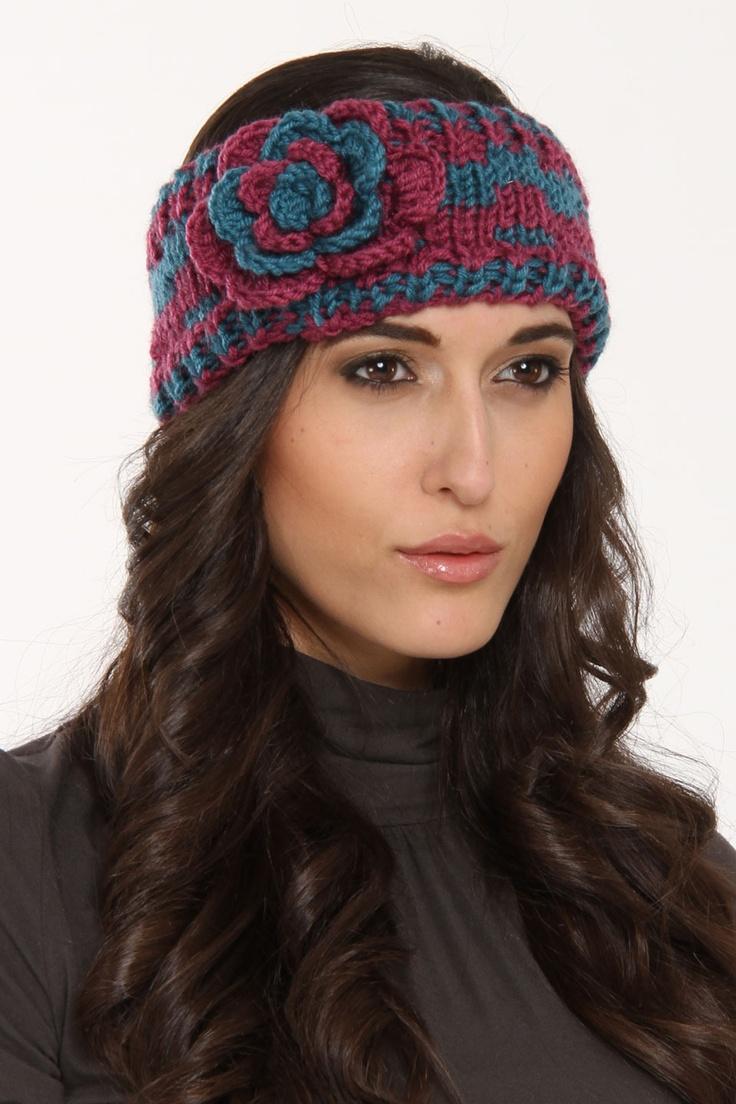 Rikka Multicolor Single Flower Knit Headband In Blue And Purple