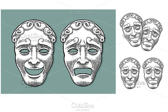 Comedy and tragedy theater masks. Vector engraving vintage black illustration. Human Icons