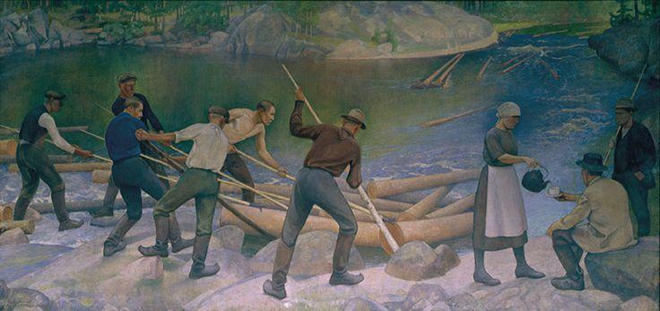 Pekka Halonen, Timber rafting, 1925 - Finnish Parliament House