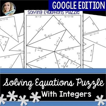 Google Drive EditionThis is the Google Drive Edition of my Solving Equations with Integers Puzzle. This product was created in Google Slides. After you purchase this product, you will receive download and use instructions.About : This activity requires students to solve one and two step equations in order to fit puzzle pieces together in Google Drive.