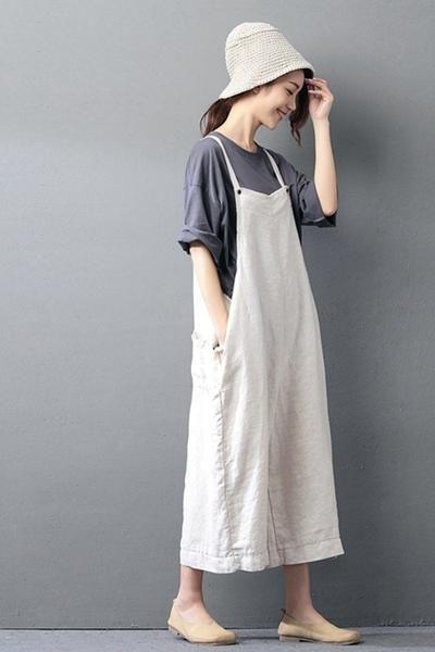a69c1c644cfc Beige Cotton Linen Casual Loose Overalls Big Pocket Maxi Size Trousers  Fashion Jumpsuit