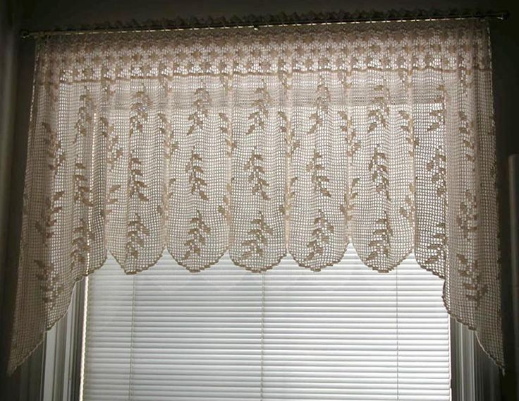 Free Crochet Patterns For Curtains And Valances : Blowing Wheat Valance (T10-013) Filet crochet ...