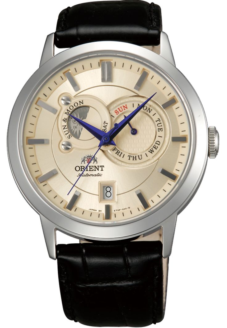 Orient's Sun and Moon 41.5mm automatic watch with day, date, and sun/moon complications. $360 retail.
