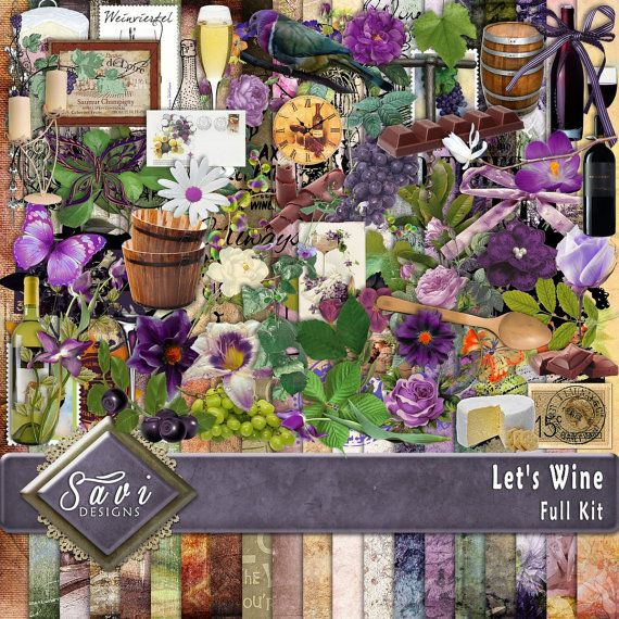 Digital Scrapbooking Kit LETS WINE Party, Celebrate, family, wine bottle, wine glass, suitable for vintage and modern Scrap Pages  Included in this Kit 20 x BG Papers 86 x Embellishments