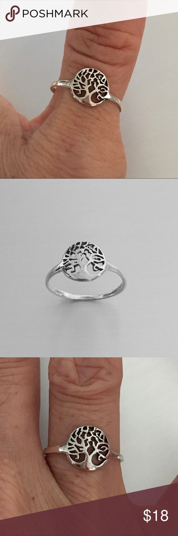 Sterling Silver Tiny Tree Of Life Ring Sterling Silver Tiny Tree of Life Ring, Pinky Ring, Midi Ring, Index Ring, Thumb Ring, 925 Sterling Silver, Face Height 10 mm (0.39 inch) Jewelry Rings