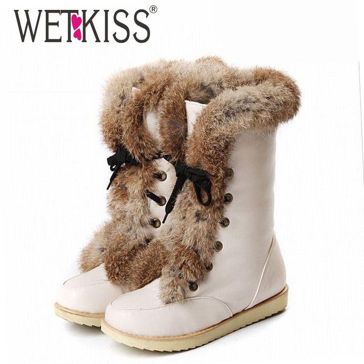 WETKISS Big size 34-43 lace up snow boots brand women's flat warm fur boots winter boots women shoes Warm platform shoes woman
