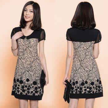 Women's Splice Suit Pattern Short Sleeve Loose Dress