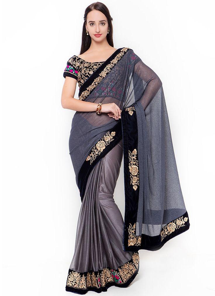 Buy Winsome Lycra Grey Designer Traditional Saree #sarees #saree #sari #designersaree #sareebuzzlove #sareebuzz