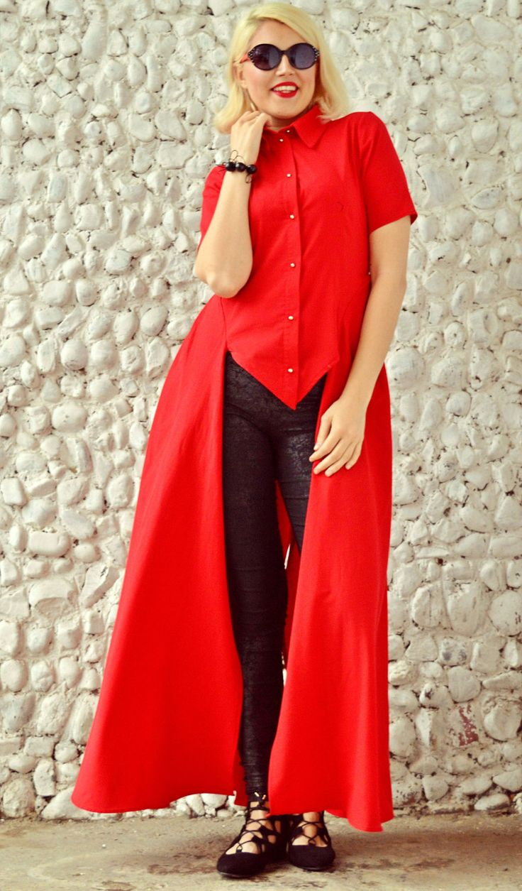 New in our shop! Extravagant Red Top, Short Sleeved Red Shirt, Flared Summer Blouse, Long Tailed Shirt TT82 by TEYXO https://www.etsy.com/listing/273523706/extravagant-red-top-short-sleeved-red?utm_campaign=crowdfire&utm_content=crowdfire&utm_medium=social&utm_source=pinterest
