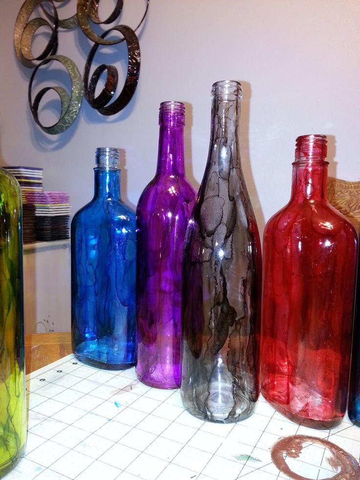 188 best diy canvas art painted wine glasses images on for Wine bottle glasses diy