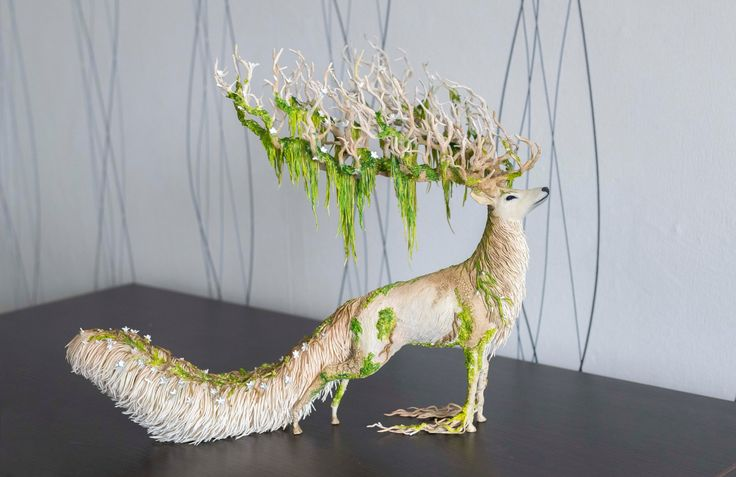 White stag statue - handmade OOAK fantasy sculpture stag deer wood figure fantasy animal figure figurine creature totem surreal mystical  SIZE: length 17 - height 14 - width 13  White stag statue - unusual gift for any holiday and a unique addition for your interior  .........IMPORTANT........ This handmade sculpture is SOLD and available only in a single original I will not repeat this work - ONLY One Of A Kind presented in my store for EXAMPLE ONLY I can make a similar Deer with making…