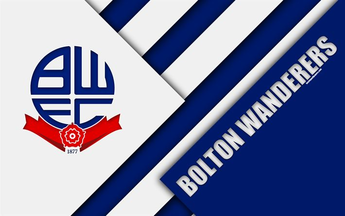 Download wallpapers Bolton Wanderers FC, logo, blue white abstraction, material design, English football club, Birmingham, England, UK, football, EFL Championship