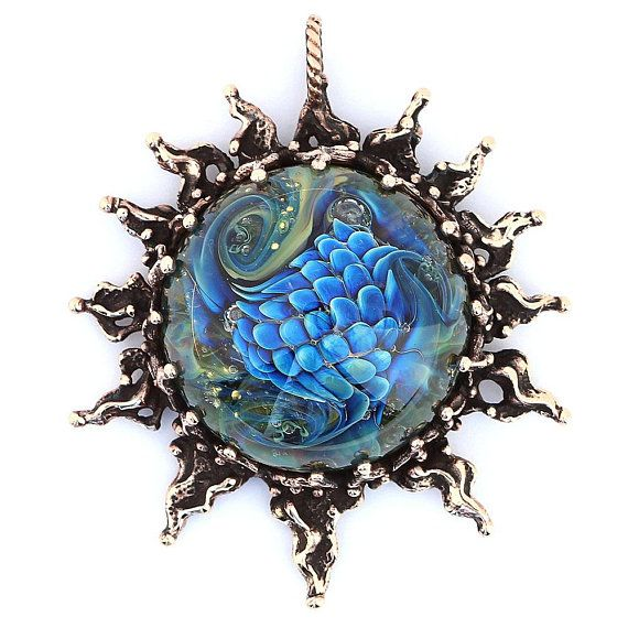 Celestial jewelry sun necklace silver pendant with handmade blue green lampwork glass bead and Silver chameleon on the branch on back side